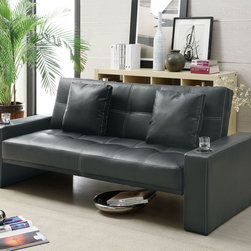 Coaster - 300125 Black Sofa Bed With Built-In Cup Holders - Stylish and functional. This casual styled sofa bed in black leather-like fabric is perfect for any family room or living room. Whether you are entertaining or have overnight guests, this sofa bed is ready to meet your needs. Featuring convenient built-in cup holders, decorative white stitching and two plush accent pillows.