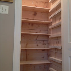 Barn Style Pantry (White Washed) - Our Barn Style Pantry System features or Barn Style Ceiling and Beams, Shelving, Walls and can/spice Ledges.  Each one is hand made and aged creating a unique work of art for you to enjoy!