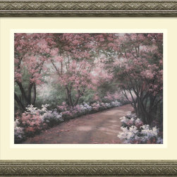 Amanti Art - Azalea Walk Framed Print by Diane Romanello - This flowery path is so inviting you'll want to see where it leads. Painted by Diane Romanello, the serene pastel print is custom framed in an embossed, antique silver wood. Don't be afraid to add a bit of romance to your decor.