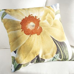 "Peony Botanical Outdoor Pillow, 20"" sq. - A lush watercolor-style rendering of this well loved bloom creates a cheerful impact in any outdoor seating arrangement. 20"" square Woven of soft, water-repellent polyester. Reverses to same. Made in America of imported materials. Internet Only."