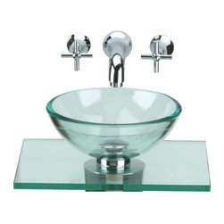 "The Renovators Supply - Glass Sinks Clear Counter Mini Vessel Glass Sink | 10891 - Small Glass Counter Mini Sink: Our Rain miniature wall mount tempered glass vessel sink is the answer to space issues. Space saving and smaller than our Mini Sinks, this wall mounted sink fits perfect in tight spaces. Counter: 17 3/4""w x 15 projection Vessel 11 3/4 diameter X 3 1/4"" deep. Faucet handles 2 5/8 projection x spout 6 1/4 projection"