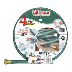 Gilmour - Gilmour Reinforced Green Garden Hose - End the frustration of coming up short with this reinforced green garden hose made by Gilmore. With a total of 50 feet in length, maneuvering around the yard and garden will no longer be an issue while using this lightweight, durable hose.