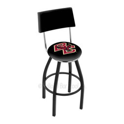 Holland Bar Stool - Holland Bar Stool L8B4 - Black Wrinkle Boston College Swivel Bar Stool - L8B4 - Black Wrinkle Boston College Swivel Bar Stool w/ Back belongs to College Collection by Holland Bar Stool Made for the ultimate sports fan, impress your buddies with this knockout from Holland Bar Stool. This contemporary L8B4 logo stool has a black wrinkle single-ring base and a cushioned back to achieve maximum comfort and support. Holland Bar Stool uses a detailed screen print process that applies specially formulated epoxy-vinyl ink in numerous stages to produce a sharp, crisp, clear image of your team's emblem. You can't find a higher quality logo stool on the market. The plating grade steel used to build the frame is commercial quality, so it will withstand the abuse of the rowdiest of friends for years to come. The structure is powder-coated to ensure a rich, sleek, long lasting finish. Construction of this framework is built tough, utilizing solid mig welds. If you're going to finish your bar or game room, do it right- with a Holland Bar Stool. Barstool (1)