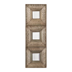 SEI - Medina 3 Piece Mirror Set - Spice up any room with this exotic decorative mirror set. It's the perfect choice to complete the style of a room or add a finishing touch to any wall in need of that little something! This decorative mirror set includes three pieces in gorgeous rust, earth, and moss finishes respectively, each with unique silver detailing. Each mirror panel features three square mirrors inset within lovely square borders. The three mirrors can be hung together or spaced apart, to work in any area. This mirror set is perfect for homes with any style of decor and looks wonderful in any room; it's a great addition to any empty wall and over mantels or console tables too.