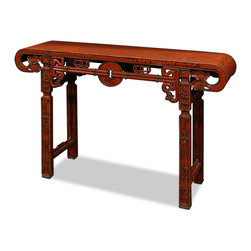 China Furniture and Arts - Antique Elmwood Shang-Hai Altar Table - Made of solid Elmwood, our Shang-Hai style console table is hand built by artisans in China with traditional joinery technique. Intricate hand carved designs frame this altar style table with an ancient coin being the center focal point. Both sides are identical. Hand applied distressed red finish. Perfect to place in a foyer or hallway. (Assembled.)
