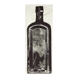 Kathy Kuo Home - Copper River Industrial Loft Bottle Black White Photo Wall Art - E - Unframed - Vintage inspired and industrial chic, this high-contrast photograph of an excavated bottle will look so sophisticated on your wall. This stunning black and white shot is available framed or unframed.