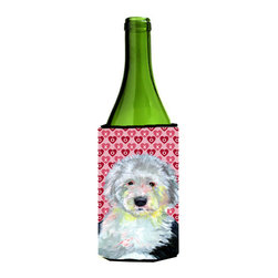 Caroline's Treasures - Old English Sheepdog Hearts Valentine's Day Portrait Wine Bottle Koozie Hugger - Old English Sheepdog Hearts Love and Valentine's Day Portrait Wine Bottle Koozie Hugger Fits 750 ml. wine or other beverage bottles. Fits 24 oz. cans or pint bottles. Great collapsible koozie for large cans of beer, Energy Drinks or large Iced Tea beverages. Great to keep track of your beverage and add a bit of flair to a gathering. Wash the hugger in your washing machine. Design will not come off.