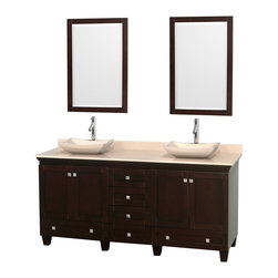 "Wyndham Collection - 72"" Acclaim Double Vanity w/ Ivory Marble Countertop & Avalon Ivory Marble Sink - Sublimely linking traditional and modern design aesthetics, and part of the exclusive Wyndham Collection Designer Series by Christopher Grubb, the Acclaim Vanity is at home in almost every bathroom decor. This solid oak vanity blends the simple lines of traditional design with modern elements like beautiful overmount sinks and brushed chrome hardware, resulting in a timeless piece of bathroom furniture. The Acclaim comes with a White Carrera or Ivory marble counter, a choice of sinks, and matching mirrors. Featuring soft close door hinges and drawer glides, you'll never hear a noisy door again! Meticulously finished with brushed chrome hardware, the attention to detail on this beautiful vanity is second to none and is sure to be envy of your friends and neighbors"