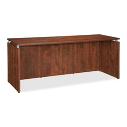 """Lorell - Laminated Credenza - This credenza is part of the laminate furniture series with contemporary-style laminate and raised floating tops. Laminate top and side panels are 1"""" thick for durability as well as stain-resistant and scratch-resistant. The top is supported by aluminum brackets to provide the floating top look. Use the two grommet holes in the top for easy cord routing. Features: -Aluminum brackets.-Two grommet holes in the top.-Contemporary style.-Scratch resistant.-Stain resistant.-Leveling glide.-Raised floating tops.-1"""" Thick for durability.-Includes: Full modesty panel, 3mm PVC edges and adjustable floor glides for stabilization.-Metal modesty panel on the desk is punched and silvery-gray, powder-coat finish.-Distressed: No.Dimensions: -Overall dimensions: 29.5"""" H x 72"""" W x 24"""" D.-Overall Product Weight: 110.23 lbs."""