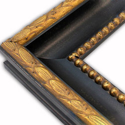 The Frame Guys - Madrid Black with Ornate Gold Picture Frame-Solid Wood-10x10 - *Madrid Black with Ornate Gold Picture Frame-Solid Wood-10x10