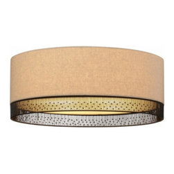 "LBL Lighting - LBL Lighting Hollywood Beach ceiling light - The Hollywood Beach ceiling light has been designed and made by LBL lighting. This drum like ceiling light is designed with a modern round fabric shade in a tan color with intricate hand-crafted wire detail around the base of the drum. The fixture for the Incandescent includes 2 x E26 medium base 75W or equivalent A19 lamps; the fluorescent includes 3 x GU24 base 27W self-ballasted CFL and this fixture is cETL LISTED.         Product Details: The Hollywood Beach ceiling light has been designed and made by LBL lighting. This drum like ceiling light is designed with a modern round fabric shade in a tan color with intricate hand-crafted wire detail around the base of the drum.  The fixture for the Incandescent includes 2 x E26 medium base 75W or equivalent A19 lamps; the fluorescent includes 3 x GU24 base 27W self-ballasted CFL and this fixture is cETL LISTED. Details:                         Manufacturer:            LBL Lighting                            Designer:            LBL Lighting                            Made in:            USA                            Dimensions:            Height: 5.8"" (14.6 cm) X Diameter: 16"" (40.6 cm)                            Light bulb:            Incandescent includes 2 x E26 medium base 75W or equivalent A19 lamps; the fluorescent includes 3 x GU24 base 27W self-ballasted CFL                            Material:            metal, fabric, glass"