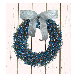Handmade Designer Wreaths - Winter Holiday Berry Wreath for Hanukkah or Blue Christmas! Add to your seasonal and holiday decorations on a front door or as home décor!