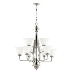 Joshua Marshal - Nine Light Faux Alabaster Glass Classic Nickel Up Chandelier - Nine Light Faux Alabaster Glass Classic Nickel Up Chandelier