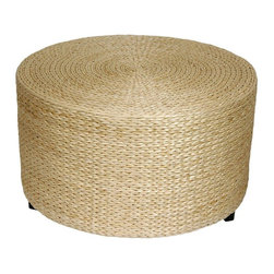 Oriental Furniture - Rush Grass Coffee Table/Ottoman - Natural - Beautifully crafted from natural and abundant woven rush grass, this is a light weight, practical home decor accessory. Rush grass is fast growing and widely available all over Asia and it is thicker, softer, and more substantial than rattan or wicker. Four wood feet make it just over 16 inches tall, tall enough for a small coffee table or large ottoman.