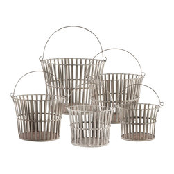 Aidan Gray - Aidan Gray 5 Piece Riveted Basket Set G114 SET - This set of 5 nesting baskets include the finest of details in the metal work. With rivets at each joint and grooves on each band, these baskets are no ordinary baskets.