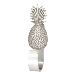 "Pineapple Coat Hooks - Pineapple Coat Hooks designed by Peter Costello. Cast in fine pewter, mounted on a custom made aluminum hook. Approximately  5.5"" tall. Available in custom powder coat colors and shiny chrome."