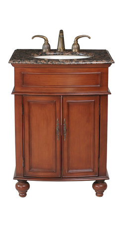 """26"""" Prince Single Sink Vanity With Baltic Brown Granite Top - Add grace and elegance to a guest or master bath with the addition of the diminutive 26"""" Prince Single Sink Vanity. The warm cherry finish and Baltic Brown Granite Top blend in perfect harmony and add a marvelous aesthetic appeal to your traditional design. Two simple doors, featuring regal metal hardware, conceal the ample storage space below."""