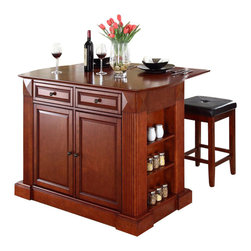 Crosley Furniture - Crosley Coventry Drop Leaf Breakfast Bar Kitchen Island with Stools in Cherry - Crosley Furniture - Kitchen Carts - KF300075CH
