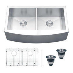 "Ruvati - Ruvati RVH9301 Apron Front 16 Gauge 36"" Kitchen Sink Double Bowl - Elegant, apron-front farmhouse kitchen sinks are a bold addition to any kitchen. Deep, rectangular bowls with bottom drain grooves and a curved apron front define the Verona series."
