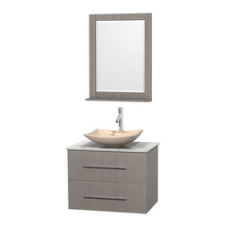 """Wyndham Collection - Centra 30"""" Grey Oak Single Vanity, White Carrera Marble Top, Ivory Marble Sink - Simplicity and elegance combine in the perfect lines of the Centra vanity by the Wyndham Collection. If cutting-edge contemporary design is your style then the Centra vanity is for you - modern, chic and built to last a lifetime. Available with green glass, pure white man-made stone, ivory marble or white carrera marble counters, with stunning vessel or undermount sink(s) and matching mirror(s). Featuring soft close door hinges, drawer glides, and meticulously finished with brushed chrome hardware. The attention to detail on this beautiful vanity is second to none."""