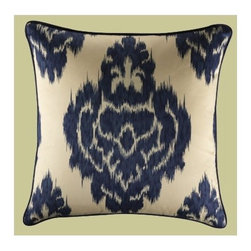 "Mystic Valley Traders - Colton IV 18"" Pillow - This bold 18"" pillow is made in the 100% cotton cream and navy printed Graphic fabric and reverses to the 100% silk navy Raw fabric, with Raw piping. Features: -Includes high density polyfiber insert pillow. -Fine interior stitch details. -Meticulously hand cut. -Hidden zipper closure. -Made to order in the USA."