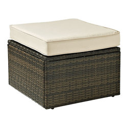 Crosley Furniture - Crosley Furniture Palm Harbor Outdoor Wicker Ottoman - Enjoy entertaining outside with our elegantly designed all-weather resin wicker ottoman.� This finely crafted collection features intricately woven wicker over durable steel frames and UV/Fade resistant cushions providing both comfort and style. ��Clean lines marry with sophisticated design offering endless seating configurations.� Pair with any number of our wicker sectional options for a customized layout perfect for any outdoor space.