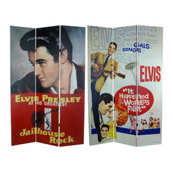 "Oriental Furniture - 6 ft. Tall Double Sided Elvis Presley Jailhouse Rock Canvas Room Divider - Elvis Presley in ""Jailhouse Rock"" and ""It Happened at the World's Fair,"" authentic movie poster art from a special time in movie and rock and roll history. Quality six foot tall limited edition folding screen, attractive, colorful, and inspiring, ideal for both home and office interiors."