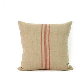 Zentique - 24x24 Red Stripe Pillow - This old-fashioned, natural linen square pillow, with a classic, red center stripe, will give your sitting spot antique appeal. Perfect near a fireplace or window seat, this timeless style still captures hearts and heads.