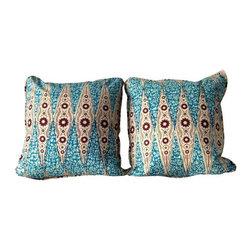 Dutch Inspired African Wax Print Pillows - Blue - Dimensions 20.0ʺW × 20.0ʺD × 20.0ʺH
