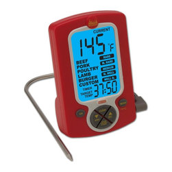 Taylor - Weekend Warrior Thermometer & Timer in Red - Includes 2 AAA batteries. 99-Minute countdown timer. Backlight for nighttime cooking . Temperature range from 32 to 392°F or 0 to 200°C . Preset taste levels . Programmable temperature alarm . Magnet, countertop or clip positioning. Handy remote digital cooking thermometer with probe and timer. Stainless steel probe with silicone covered cord. LCD screen which shows the target temperature and current food temperature. When the meat reaches the target temperature an alarm will sound. 1-Year manufacturer's warranty. 5.75 in. L x 9.25 in. W x 1.5 in. H (1 lb.)