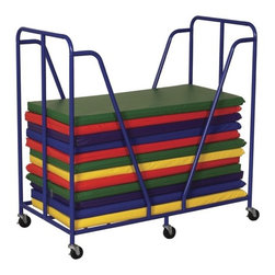 "ECR4Kids - Mat Trolley - A steel framed rest mat trolley featuring mobility casters that lock for safety. Trolley holds mats up to 25"" x 50"" Blue powder-coat finish. -Easy-to-clean. -Assembly required. -Dimensions: 51.0""L x 27.0""W x 48.0""H. -Mats Sold Separately."