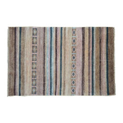 Oriental Rug 4'X6', Hand Knotted Striped 100% Wool Modern Gabbeh Area Rug SH9078 - Our Modern & Contemporary Rug Collections are directly imported out of India & China.  The designs range from, solid, striped, geometric, modern, and abstract.  The color schemes range from very soft to very vibrant.