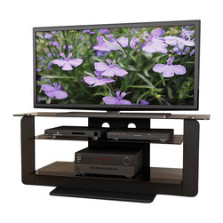 "Sonax - Sonax Atlantic 52"" Midnight Black TV Stand with Glass Shelves in Black - Sonax - TV Stands - T201TAT - Discover the open air design of the new Atlantic Collection TV stand from Sonax. Open glass shelves on a sleek Midnight Black frame create the perfect contemporary setting to display all of your components and accessories. The open layout provides important air circulation for your high valued components and audio equipment resulting in the best performance and sound. Convenient wire management backing keeps your wires out of sight for a clean and polished look in your home. Built to accommodate most TVs up to 55��� this Sonax stand is proudly made in North America."