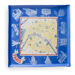 Rosanna - Voyage Tray Paris Map By Rosanna - Our Voyage Tray Paris Map showcases vintage travel memorabilia from around the globe in a set of modern tableware. Explore the bygone days of international travel with porcelain trays showcasing ephemera found by Rosanna around the world. Ideal for dinner parties or tea time.