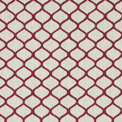 Red and Off White Geometric Contemporary Oval Upholstery Fabric By The Yard - This contemporary fabric is an excellent choice for all indoor upholstery! In addition to looking like linen, this material is woven for enhanced appearance and durability.