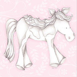 """Doodlefish - Princess Pony Pink - Princess Pony is an 18"""" x 18"""" Gallery Wrapped Giclee Print that features a mix of graphical elements and a drawing of a pretty pony with a curly mane and tail.  Choose the background color and the background pattern to match your child's room,  Add your child's name or even your favorite pet.  This artwork is also available mounted in a painted frame of your choice.    The finished size of the mounted piece is approximately 22""""x22""""."""