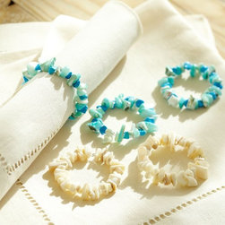 Coral Beaded Napkin Ring, Blue - Having these aqua coral napkin rings might actually make me want to use cloth napkins once in a while.