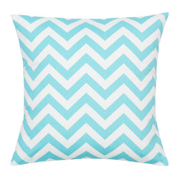 Look Here Jane, LLC - Chevron Girly Blue Pillow Cover - PILLOW COVER