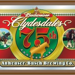 "Trademark Global - Budweiser Clydesdales 75th Anniversary Mirror - Anheuser-Busch Brewing Co. - Features: -Budweiser Clydesdales 75th anniversary mirror. -Phrase 'Anheuser-Busch Brewing Co."". -Photos of the famous horses as well as gold etched elements. -Perfect for fans of Budweiser and their famous Clydesdales. -Hand made in Ohio. -Assembly required. -Dimensions: 15"" H x 26"" W x 1"" D."