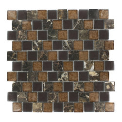 "Vestige Terra Brown Marble & Glass Tiles - VESTIGE TERRA BROWN TILE This stunning combination of the dark emperidor with the frosted and polished metallic glass will give any room a rustic and contemporary ambience. Add a pop to any room with these beautiful tiles that are versatile; great to use for a backsplash for a kitchen or a fireplace Chip Size: 1.18"" x 1.18"" Color: Dark Emperidor, Brown, Metallic Bronze Material: Dark Emperidor & Glass Finish: Frosted and Polished Glass Sold by the Sheet - each sheet measures 12.5""x12.5"" (1.09sq. ft.) Thickness: 8mm"