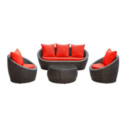 Modway - Avo 4 Piece Sofa Set in Brown Red - Lounge confidently and transform casual expeditions into life-changing accomplishments with this modern outdoor set. Entertain guests from far and near as you jump-start gatherings and transcend starting points of engagement. Absorb true relaxation and merge with the moment into a private seating occasion to remember.