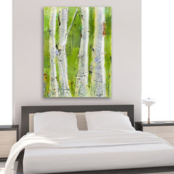 "LOVE - Mixed media green aspen forest on canvas, 30"" x 40"", gorgeous blissful aspens with delightful collaged elements"