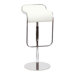 LexMod - LEM Style Piston Bar Stool in White Genuine Leather - The LEM Style Bar Stool has sleek lines that would be equally impressive in a restaurant or at home. Our premium version has a high quality Italian leather seat. Perfect for entertaining guests at restaurants, your home bar, or for stylish seating around the kitchen counter.