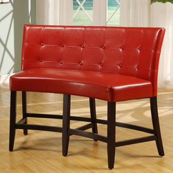 Modus - Bossa Counter Height Banquette - Red Leatherette - 2Y9770D - Shop for Dining Chairs from Hayneedle.com! Elegant doesn't mean expected - and the Bossa Counter Height Banquette - Red Leatherette is hardly your run-of-the-mill dining room seating. Crafted with a durable solid birch base finished in a dark chocolate shade this cool curved 2-seater bench boasts a comfy padded red leatherette seat with webbed no-sag flame-retardant polyurethane foam cushioning for extra comfort. The high back is seamed and tufted and durable 10-bolt grooved corner block construction makes for easy assembly. 26-inch seat height.
