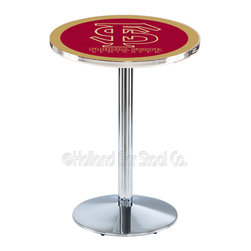 Holland Bar Stool - Holland Bar Stool L214 - Chrome Florida State (Script) Pub Table - L214 - Chrome Florida State (Script) Pub Table belongs to College Collection by Holland Bar Stool Made for the ultimate sports fan, impress your buddies with this knockout from Holland Bar Stool. This L214 Florida State (Script) table with round base provides a commercial quality piece to for your Man Cave. You can't find a higher quality logo table on the market. The plating grade steel used to build the frame ensures it will withstand the abuse of the rowdiest of friends for years to come. The structure is triple chrome plated to ensure a rich, sleek, long lasting finish. If you're finishing your bar or game room, do it right with a table from Holland Bar Stool. Pub Table (1)