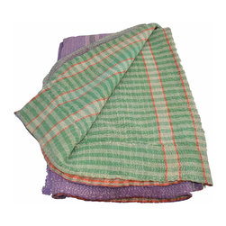 Kantha Quilt, Green and Purple - Hand stitched from scraps of vintage saris, this kantha quilt is unbelievably soft and truly one-of-a-kind. The combination of patterns and colors is a hallmark of these traditional Indian quilts and are a fun compliment to any neutral space.