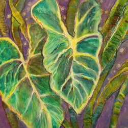 Go Violet (Original) by Sandy Bennett - This was a rather ordinary caladium painting that I had done. One day I looked at it and decided to jazz it up. Added lots more layers and extra mediums. Still not enough. So I decided 'Go Violet' or go home. So I did and it's happy. Would be striking when matted and framed under glass.