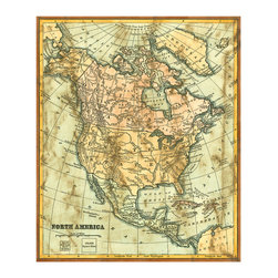 Distressed Map of North America Crackle Giclee - Vertical orientation and non-standard, near-square proportions make the Distressed Map of North America Crackle Giclee a particularly attention-getting selection. The warm, aged tones make it excellent for adding a sense of history to a library or for grounding the brighter hues of a streamlined loft or townhouse - a versatility that makes this an ideal transitional art print.