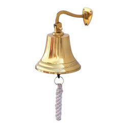 """Handcrafted Model Ships - Brass Hanging Ship's Bell 6"""" - Brass Hanging Bell - Elegantly designed and gleaming with a lustrous shine, this fabulous Brass Hanging Ship's Bell 6"""" is equally stunning indoors or out, and is fully functional for actual use aboard any ship. Enjoy its wonderfully decorative style and distinct, warm nautical tone with each and every resounding ring. Each bell's length is measured from the highest point of its hanger to the lower lip of the bell, while the width is the diameter of the flared bell opening. Dimensions: 4"""" L x 4"""" W x 6"""" H"""