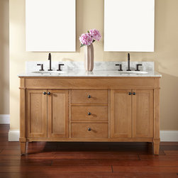 """60"""" Marilla Double Vanity for Undermount Sinks - Complete a master bath for two with the understated 60"""" Marilla Double Vanity, which can be customized with a pair of undermount sinks. Inside each of the cabinets, you'll find two shelves for organizing towels and accessories."""